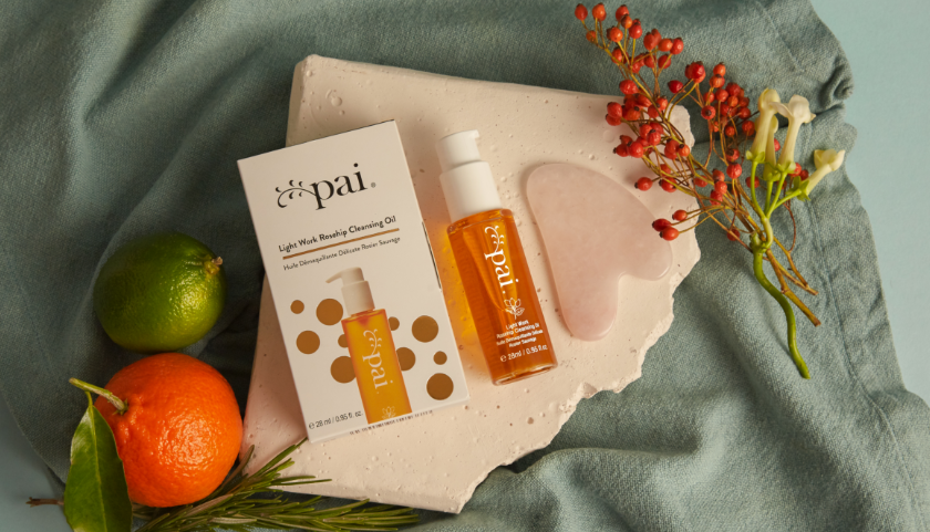 Pai Skincare Light Work Rosehip Cleansing Oil and Rose Quartz Gua Sha